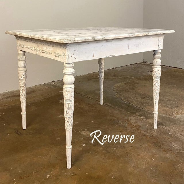 Gustavian (Swedish) Center/End Table, 18th Century Swedish Painted With Marble Top For Sale - Image 3 of 12