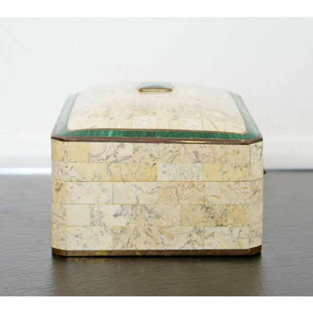 Mid Century Modern Maitland Smith Brass Tessellated Stone Lidded Box Vessel 70s For Sale In Detroit - Image 6 of 11