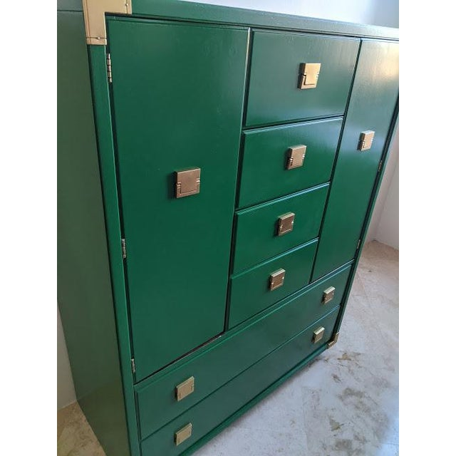 Green 1970s Thomasville Campaign Gloss Green Highboy Dresser For Sale - Image 8 of 10