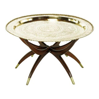 Moroccan Incised Brass & Mahogany Folding Six-Leg Tray Table For Sale