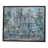 Image of Vintage Mid-Century Modern Abstract Cityscape Painting For Sale