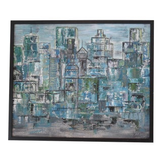 Vintage Mid-Century Modern Abstract Cityscape Painting For Sale