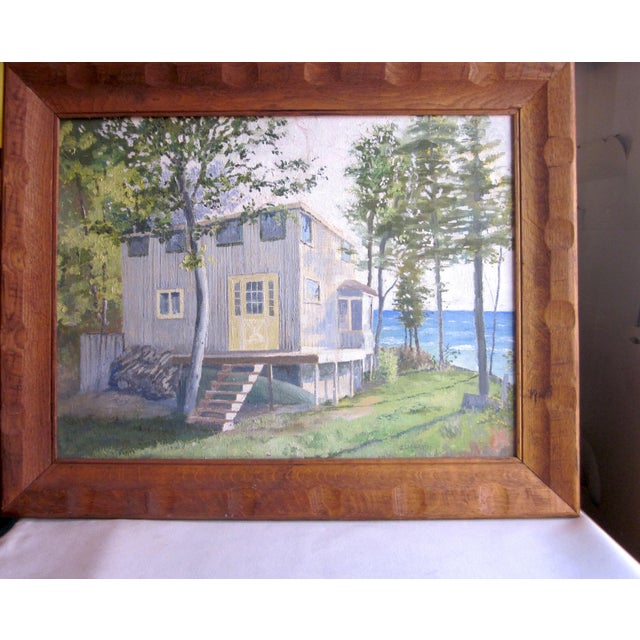 This is a vintage signed acrylic on canvas painting, signed by the artist J. Easley and dated 1971. It features a lakeside...