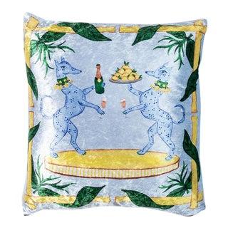 Lemon + Capri Crushed Velvet Pillow For Sale