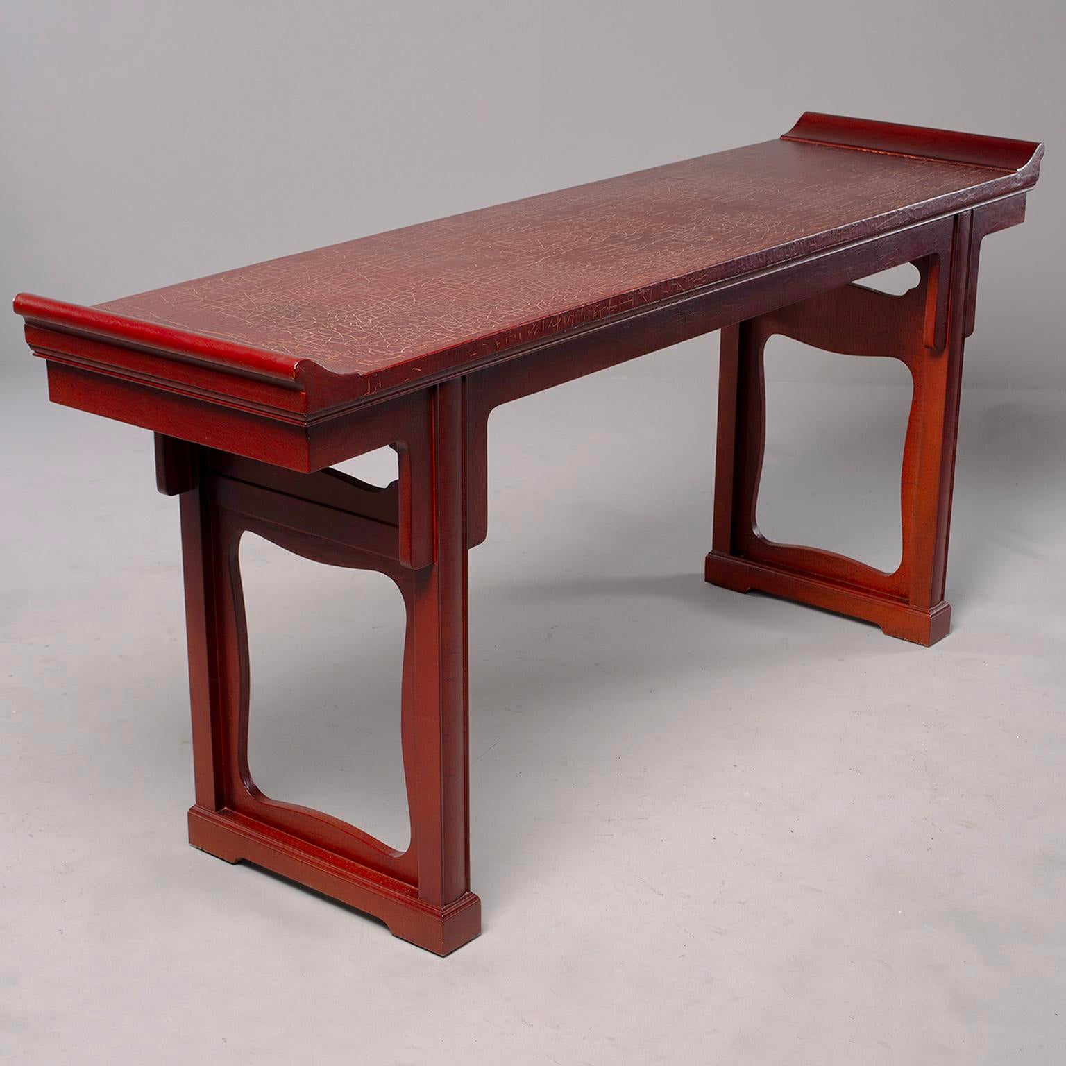 Wonderful Baker Furniture Red Chinese Style Altar Console Table For Sale   Image 11  Of 11