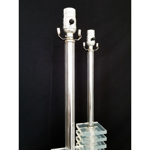 Vintage Art Deco Skyscraper Stacked Lucite and Chrome Table Lamps - a Pair - Mid Century Modern Palm Beach Boho Chic For Sale In Miami - Image 6 of 12