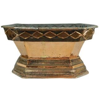 Italian Copper Planter or Jardiniere With a Decorative Rim Trim, 19th Century For Sale