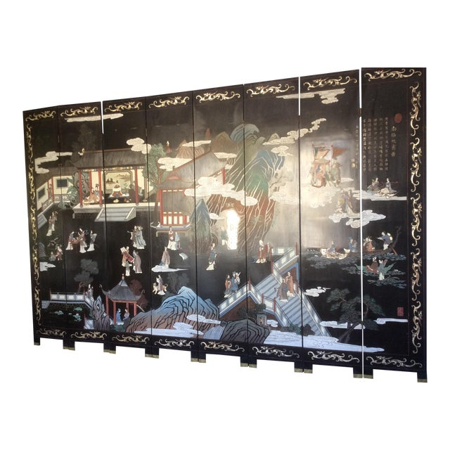 Large Eight Panel Chinese Coromandel Screen For Sale
