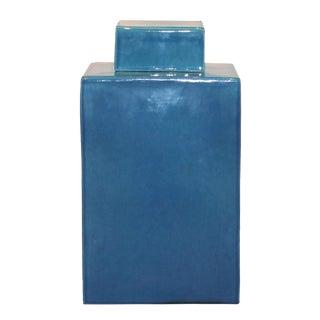 Contemporary Blue Lidded Jar For Sale