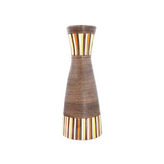Vintage Mid-Century Aldo Londi Bitossi for Rosenthal Netter Striped Pottery Vase For Sale