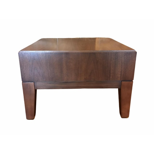 Contemporary Walnut Side Table By Kimball Furniture Chairish