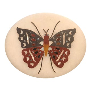 Anglo Indian Pietra Dura Inlaid Marble Butterfly Paperweight For Sale