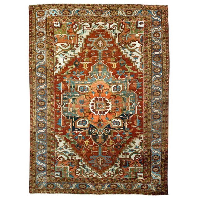 "Antique Serapi Rug - 9'8"" x 13'4"" For Sale"