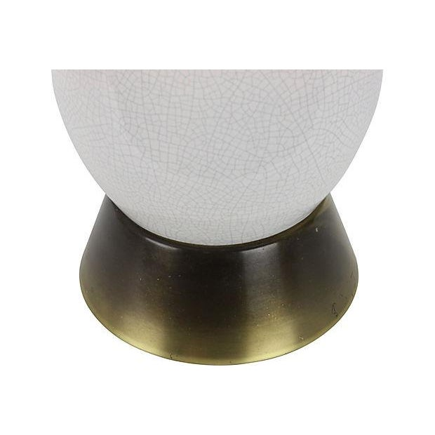 Mid-Century Modern White Crackle Lamp - Image 4 of 5