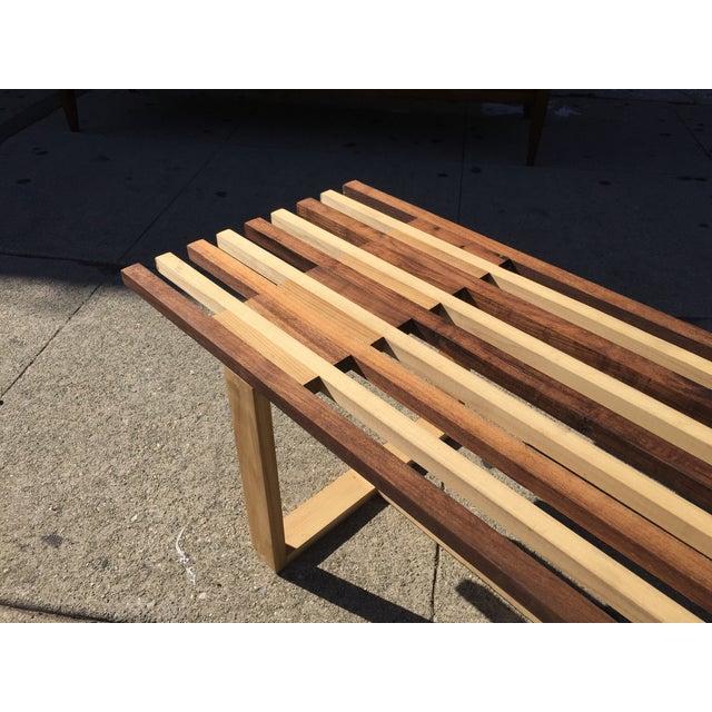Mid-Century Style Handmade Slat Bench - Image 3 of 7