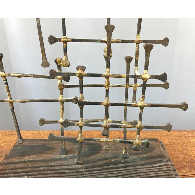 Midcentury Large Brutalist Abstract Nail Art Sculpture For Sale - Image 11 of 12