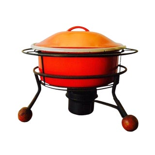 20th Century Mid-Century Modern Orange Enamel Chafing Fondue Dish