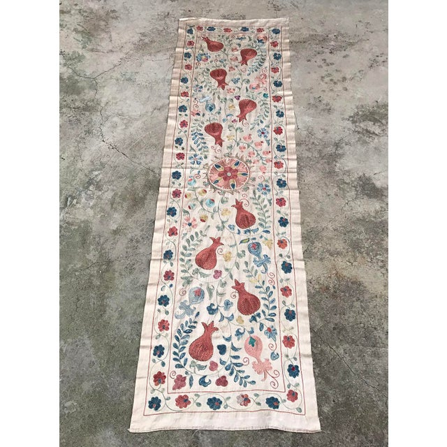 Vintage Pure Silk Suzani Table Runner - Image 4 of 6