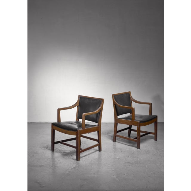 1940s Pair of Kay Fisker Attributed Armchairs in Dark Green Leather For Sale - Image 5 of 5