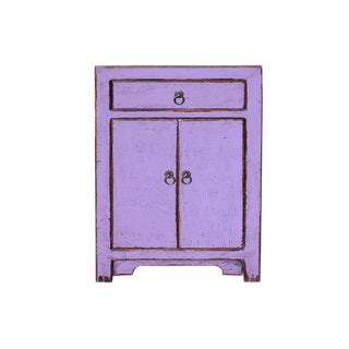 Distressed Grape Purple Lacquer Drawer End Table Nightstand For Sale