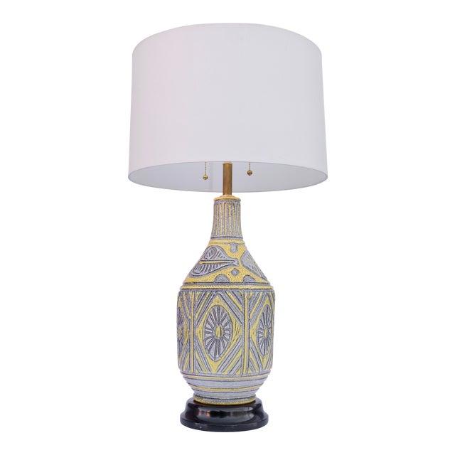 Italian Yellow Ceramic Table Lamp For Sale