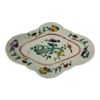 Asian Hand Painted Floral Decorative Dish For Sale