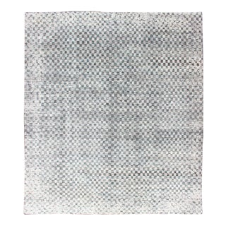 Modern Design Destressed Rug in Shades of Teal, White, Charcoal For Sale