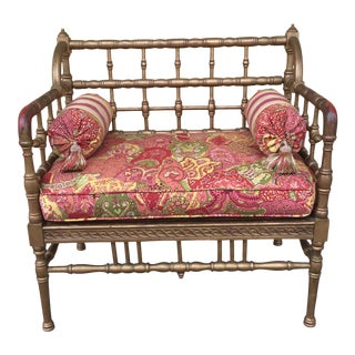 Petite 1960s Chinoiserie Bamboo Style Settee For Sale