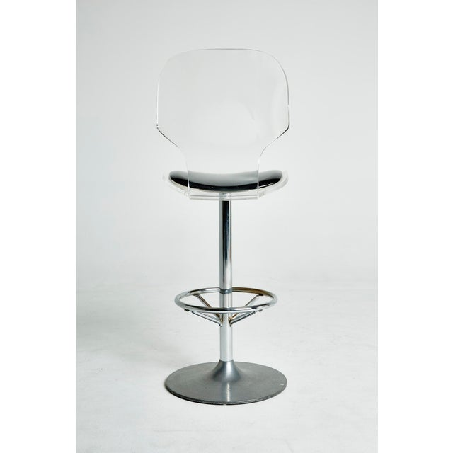 Set of Six Lucite Bar Stools For Sale - Image 7 of 8