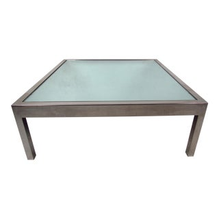 Unique Vintage Modern Mirrored Glass and Chrome Coffee Table For Sale