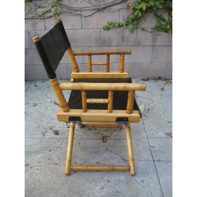 1960s Vintage Bamboo & Leather Folding Director's Chair For Sale In Los Angeles - Image 6 of 11