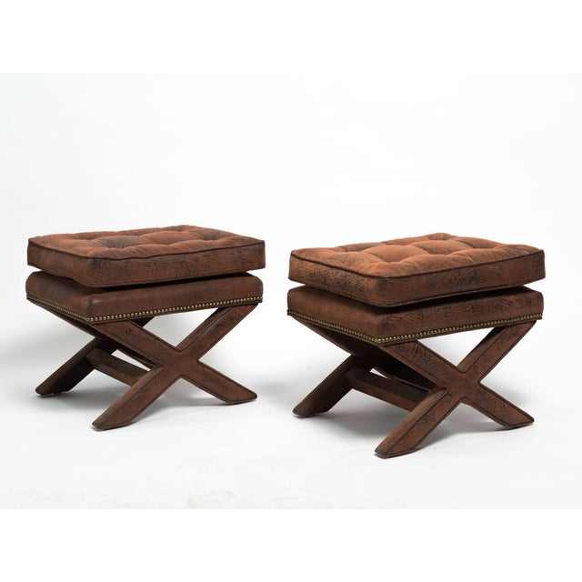 Metal Billy Baldwin Style X-Benches - a Pair For Sale - Image 7 of 10