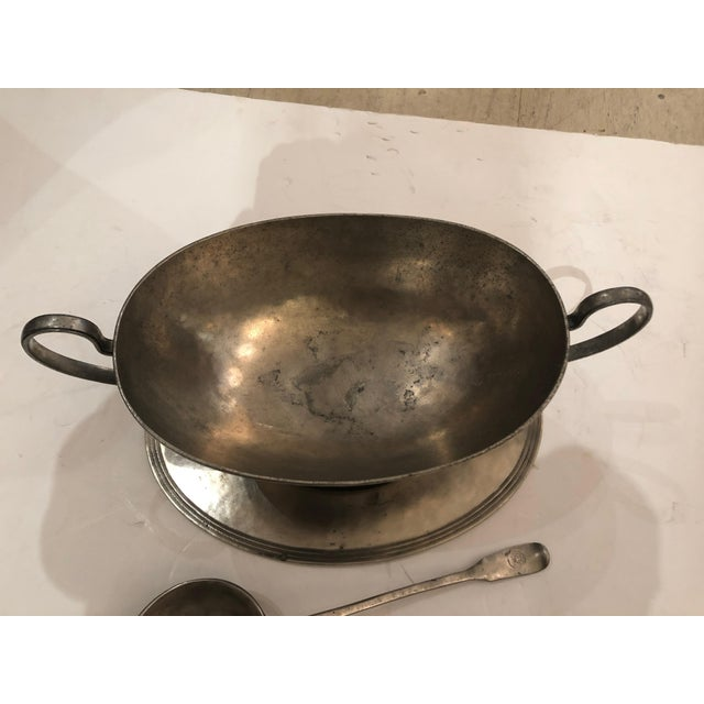 Traditional Handsome Arte Italica Pewter Soup Tureen and Ladle For Sale - Image 3 of 9