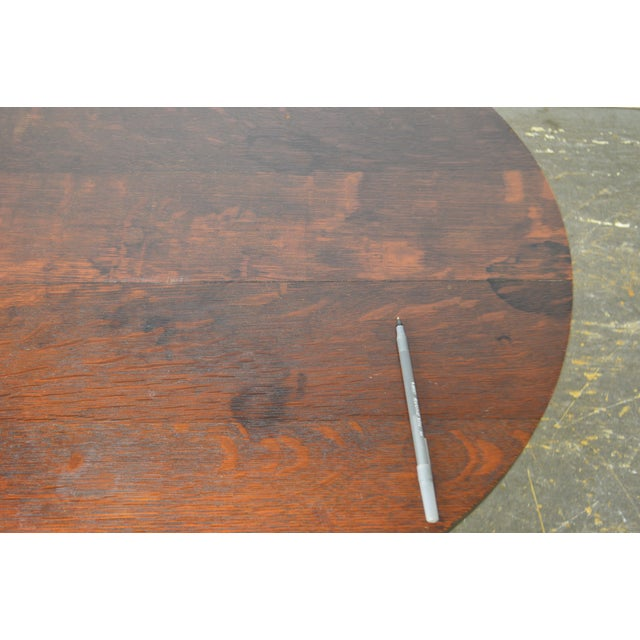 Arts & Crafts Style Antique Round Oak Drinks Table Stickley Era For Sale - Image 10 of 13