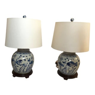 Classic Blue and White Canton Style Ginger Jar Lamps With Carp-A Pair For Sale