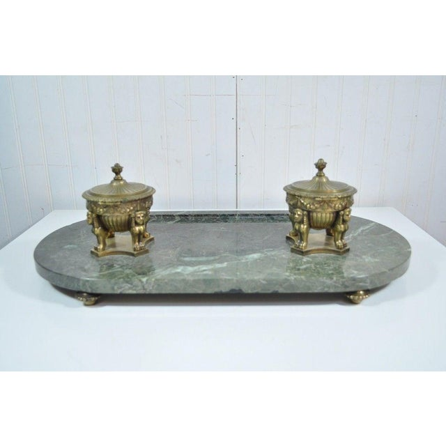 Antique French Empire Style Figural Bronze Green Marble Double Inkwell Neoclassic - Image 9 of 11