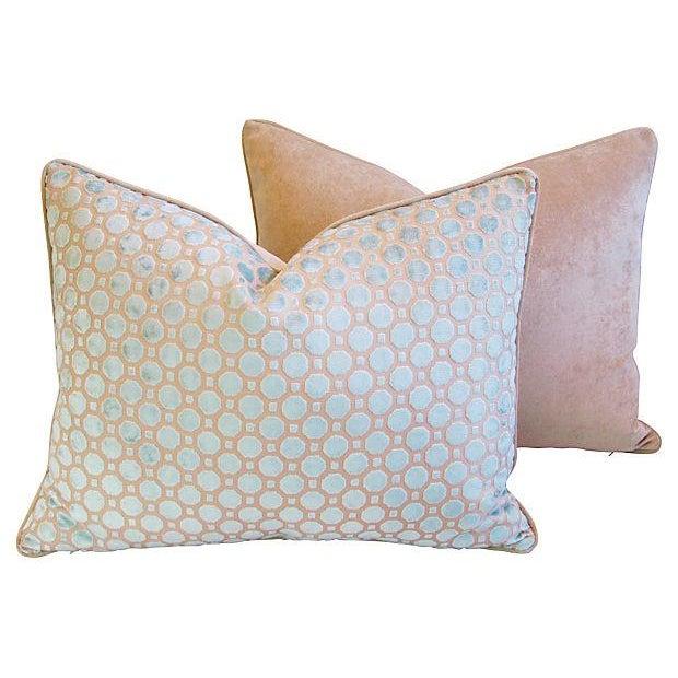Aqua Blue Velvet Geometric Pillows - Pair - Image 6 of 7