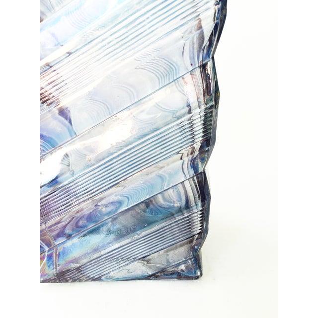 Vintage Geometric Blue Glass Decanter - Image 4 of 6