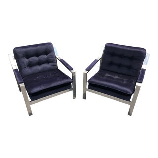 Worlds Away Chrome and Blue Upholstered Cameron Chairs - a Pair For Sale