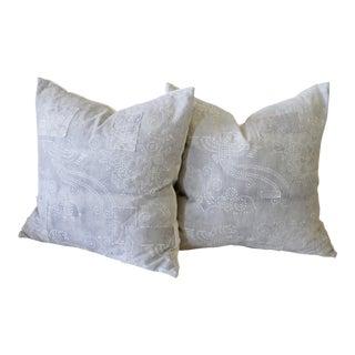 Vintage Batik Accent Pillows - a Pair For Sale
