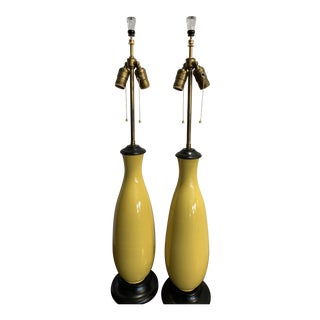 Late 19th Century Chinese Imperial Yellow Vases as Lamps - a Pair For Sale