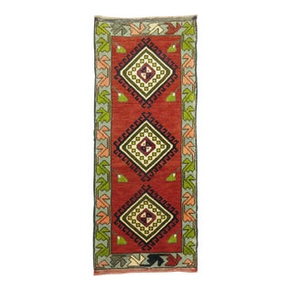 Orange Green Vintage Turkish Mat, 1'6'' X 3'6'' For Sale