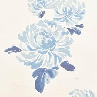 Sample - Schumacher Hana Sisal Wallpaper in Blue For Sale