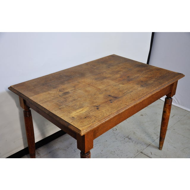 1950s Vintage French Oak Farmhouse Dining Table For Sale - Image 5 of 12