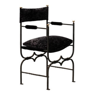 French Empire Style Iron and Velvet Chair