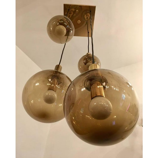 1970s Raak Dutch Smoked Glass Globe Ceiling Light For Sale In New York - Image 6 of 10