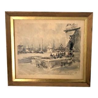 Paris Street Scene W/ Eiffel Tower Watercolor Artwork For Sale