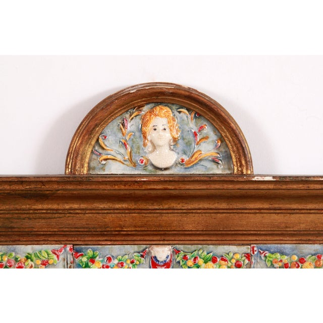 Fabulous vintage c.1940's/50's Italian gold gilded wood wall mirror with beautiful hand painted tiles, depicting cherubs...