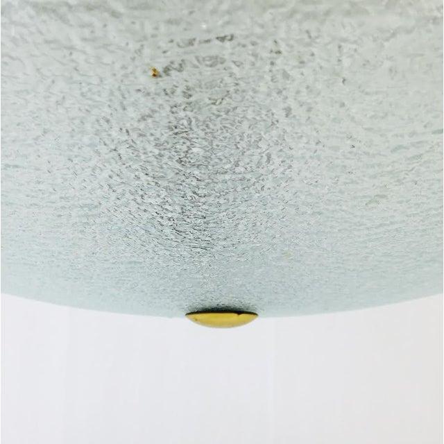 Vintage Mid-Century Glass & Brass Disk Pendant Light - Image 10 of 11