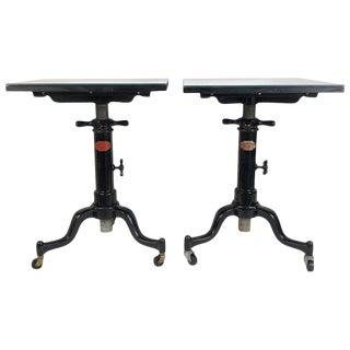 Antique Industrial Original Satellite Adjustable Tables Custom Mirror Tops Pair For Sale